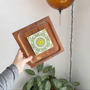 Vintage 70's Tile Wooden Cheese Board